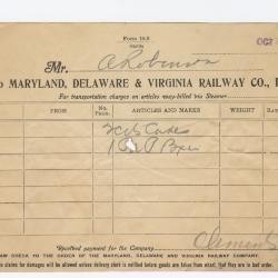Abraham Robinson Shipping Bill, 1915 October 7