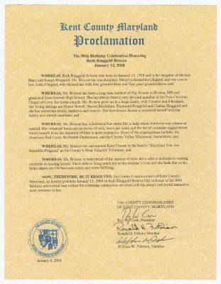 Ruth Ringgold Briscoe day proclamation