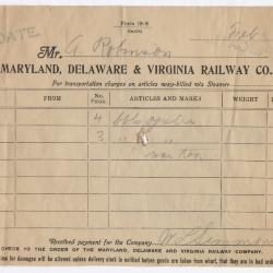 Abraham Robinson Shipping Bill, 1916 February 24