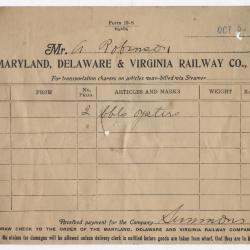 Abraham Robinson Shipping Bill, 1916 October 5