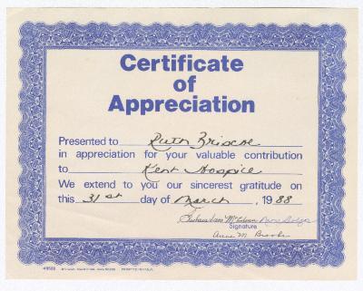 Certificate of Appreciation for Ruth Ringgold Briscoe