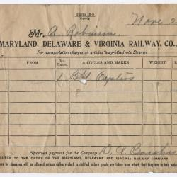 Abraham Robinson Shipping Bill, 1917 November 20