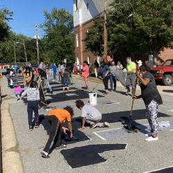 View of North College Avenue During the Painting of the Black Lives Matter Street Mural
