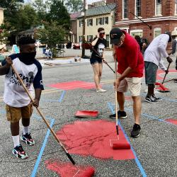 Community Members Painting the Black Lives Matter Street Mural with Mayor Chris Cerino