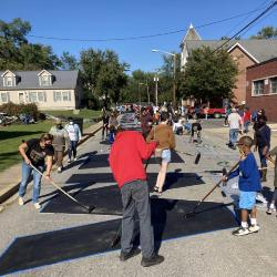 Painting the Black Lives Matter Street Mural on North College Avenue