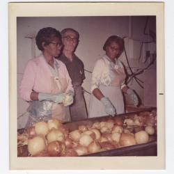 Sorting through yellow onions at VITA Foods