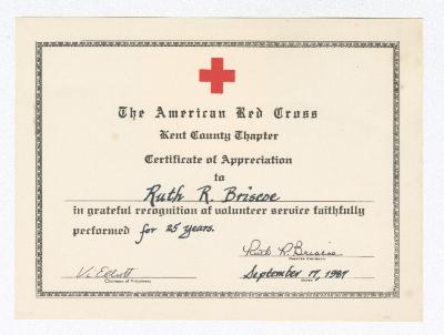Certification of Achievement for Ruth Ringgold Briscoe from the American Red Cross