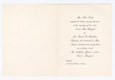 Wedding invitation for Naomi Alice Ringgold and Edward C. Blackshire