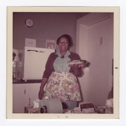 Dorothy Brown holding a pie 1972