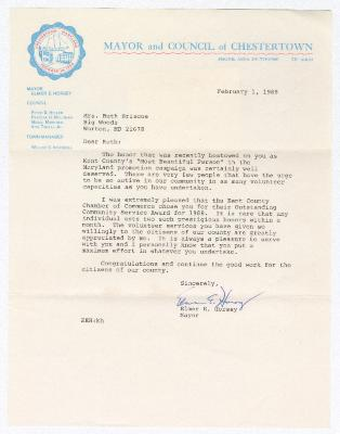 Letter of congratulations to Ruth Ringgold Briscoe