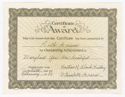 Certificate of Award for Ruth Ringgold Briscoe for outstanding achievement in Maryland You Are Beautiful