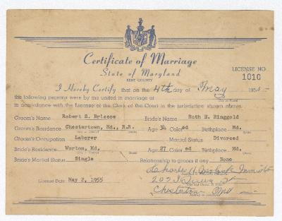 Certificate of Marriage between Robert s. Briscoe and Ruth E. Ringgold
