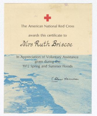Certificate of appreciation to Ruth Ringgold Briscoe for Voluntary Flood Assistance