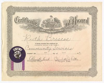 Certificate of Award for Ruth Ringgold Briscoe