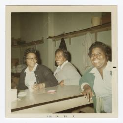 Janet Rochester, Doris Green, and Florence Tinch in the VITA Foods cafeteria