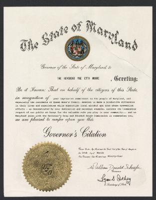 State of Maryland Governor's Citation