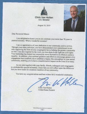 Congratulations from Senator Chris Van Hollen