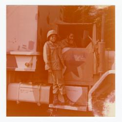 Eleanor Rochelle Ringgold standing on military vehicle